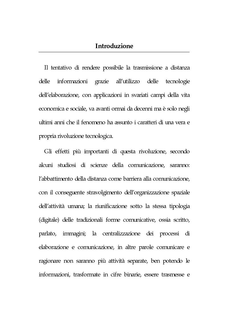 Anteprima della tesi: La new economy: metodi e tecniche per lo sviluppo del commercio elettronico, Pagina 1