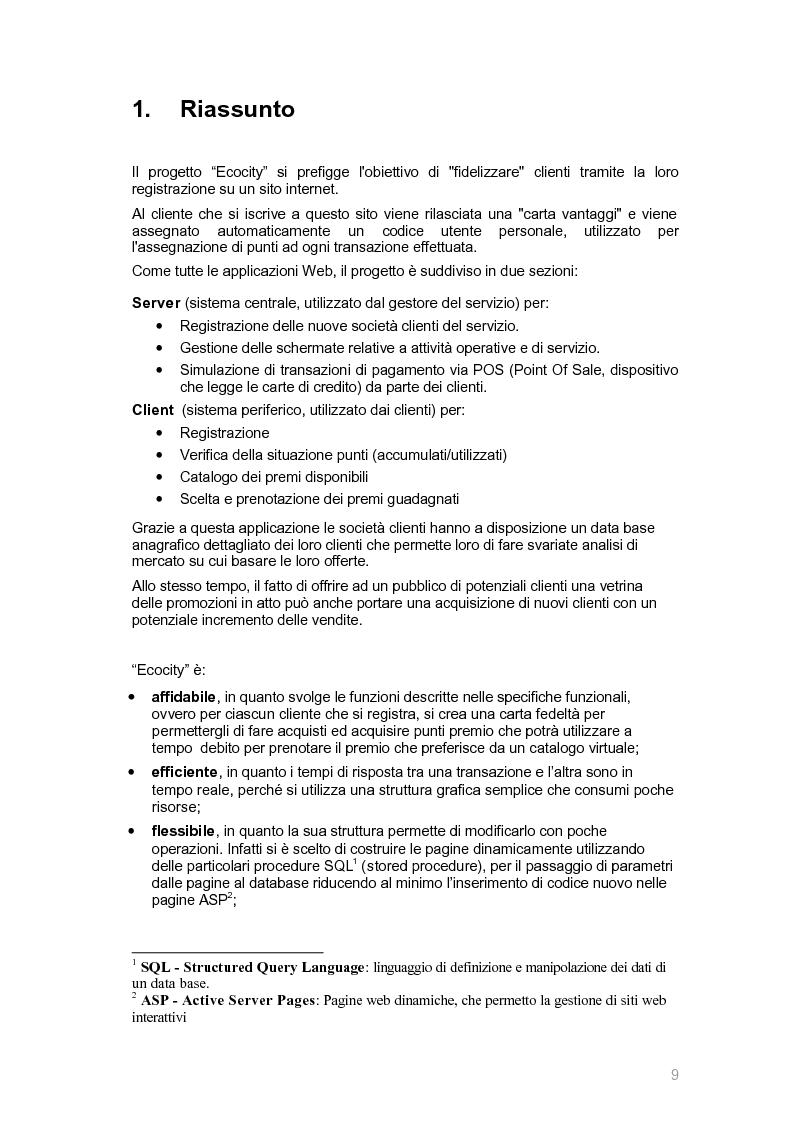Anteprima della tesi: Ecocity: un sito per la ''fidelizzazione'' di clienti, Pagina 1