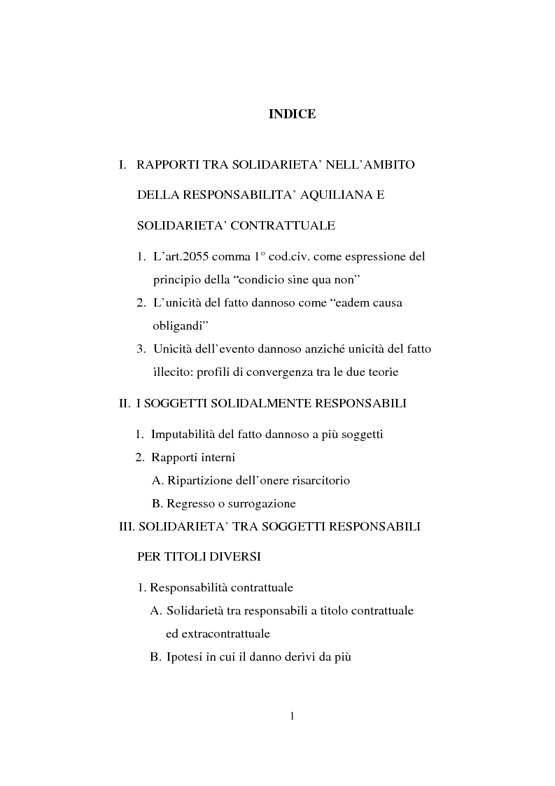Indice della tesi: La responsabilità solidale per fatto illecito, Pagina 1
