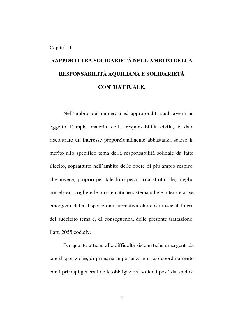 Anteprima della tesi: La responsabilità solidale per fatto illecito, Pagina 1