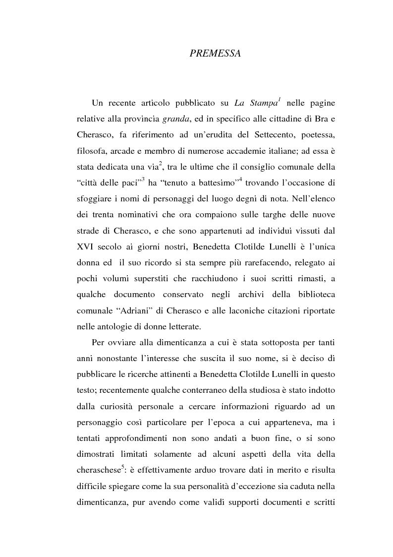 Anteprima della tesi: Una dama in Parnaso: l'arcade piemontese Benedetta Clotilde Lunelli Spinola (1700-1774), Pagina 1