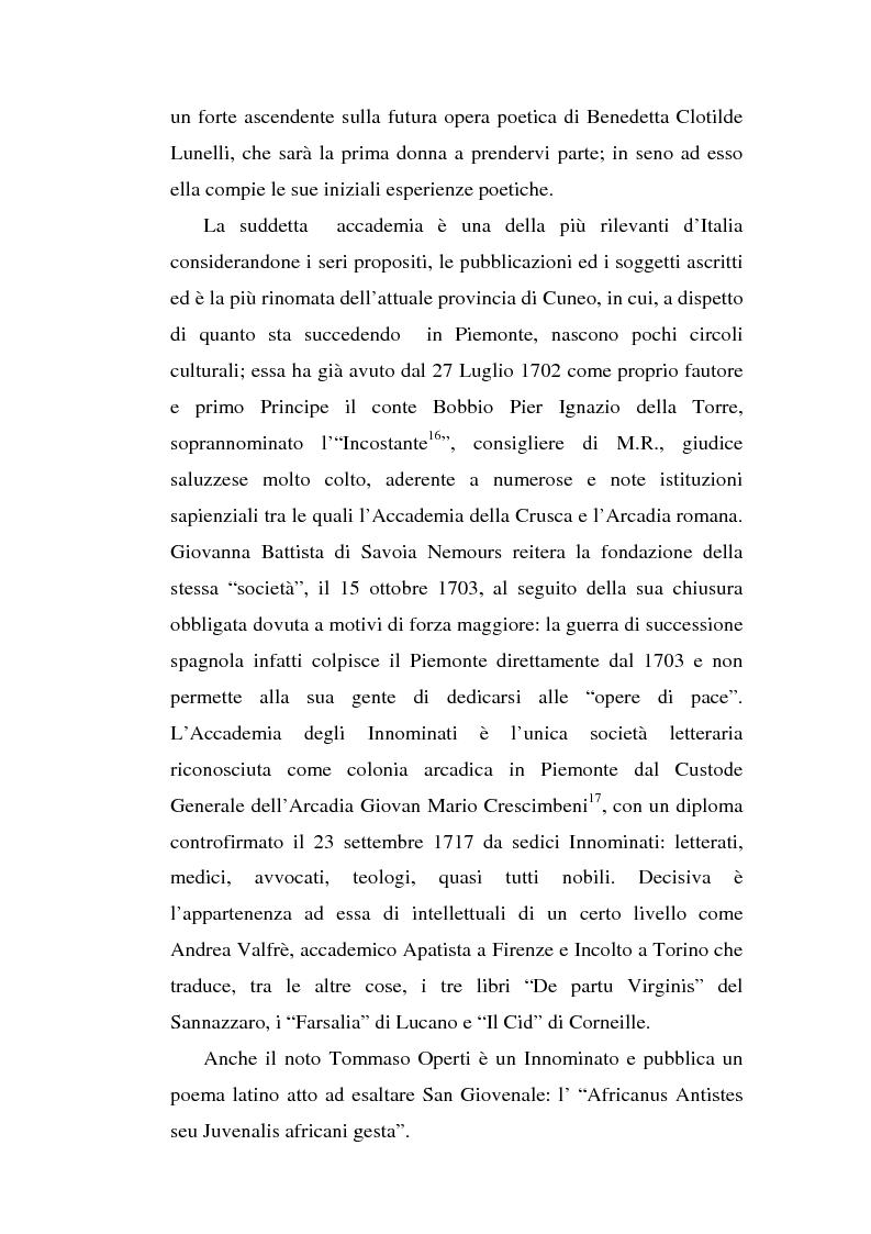 Anteprima della tesi: Una dama in Parnaso: l'arcade piemontese Benedetta Clotilde Lunelli Spinola (1700-1774), Pagina 13