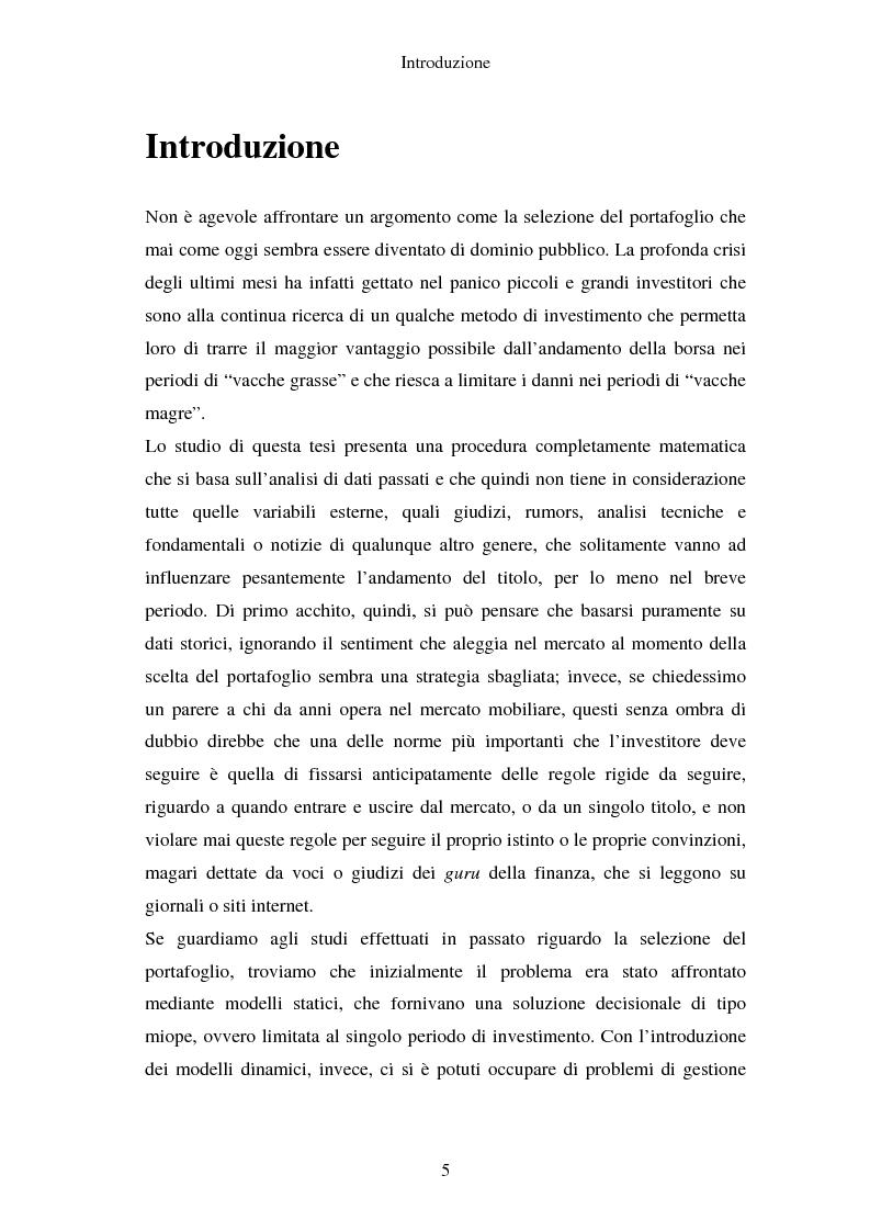 Anteprima della tesi: Gestione del portafoglio: generazione di scenari e applicazioni al mercato azionario italiano, Pagina 1