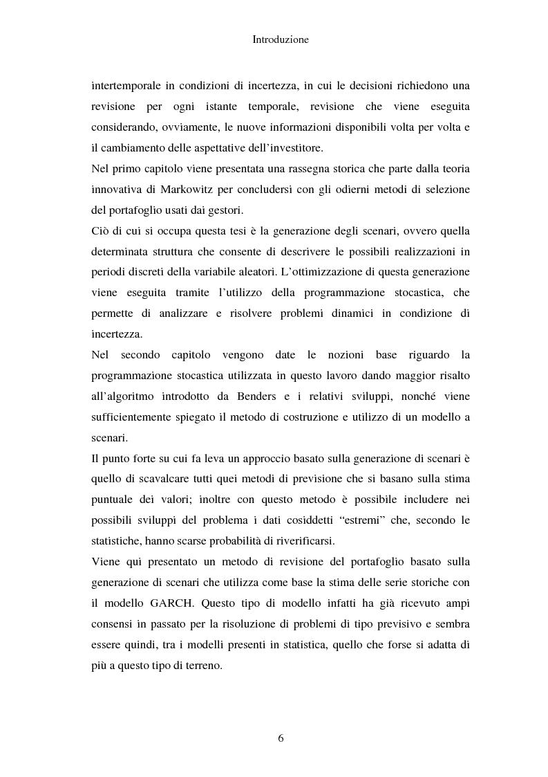 Anteprima della tesi: Gestione del portafoglio: generazione di scenari e applicazioni al mercato azionario italiano, Pagina 2
