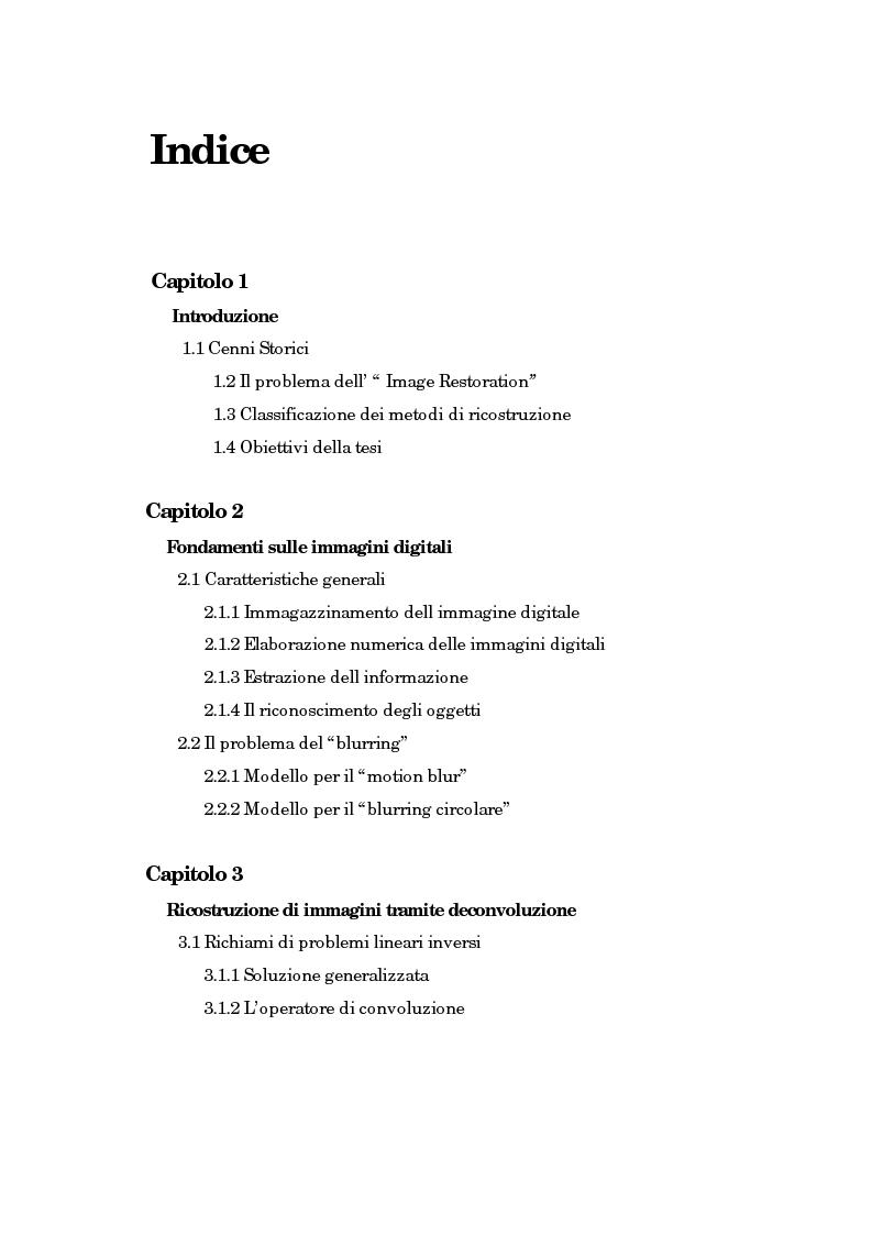 Indice della tesi: Il problema della rifocalizzazione di immagini digitali in presenza di rumore, Pagina 1