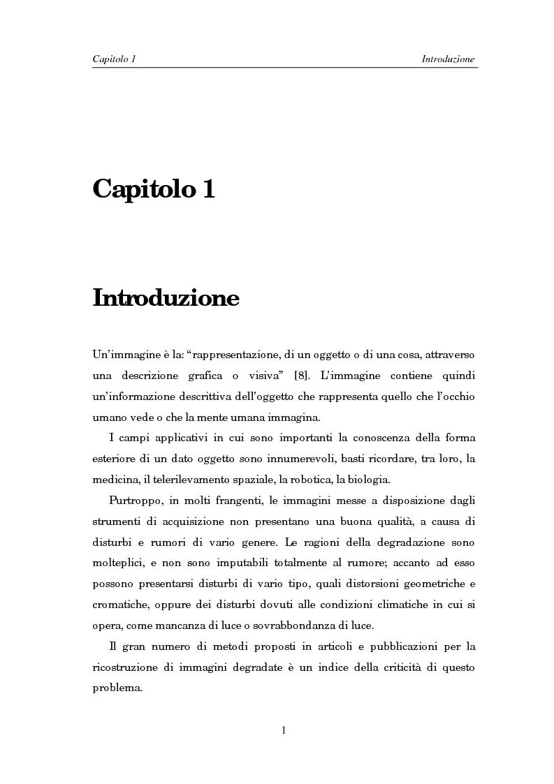 Anteprima della tesi: Il problema della rifocalizzazione di immagini digitali in presenza di rumore, Pagina 1