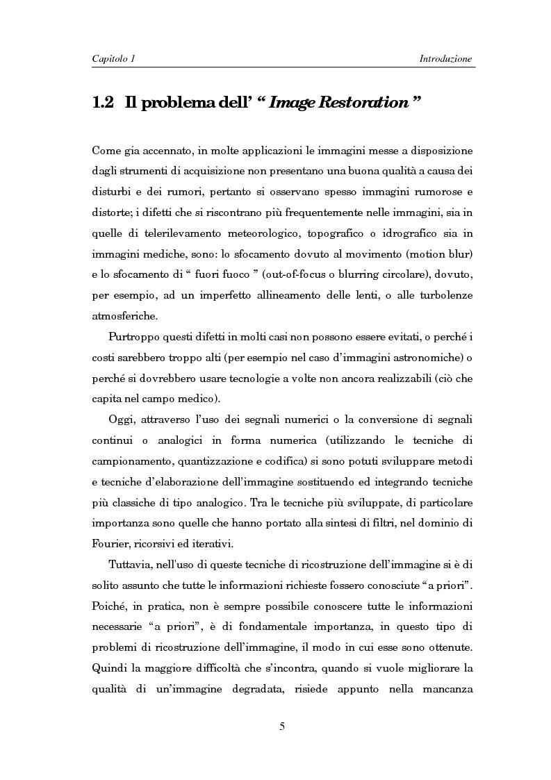 Anteprima della tesi: Il problema della rifocalizzazione di immagini digitali in presenza di rumore, Pagina 5