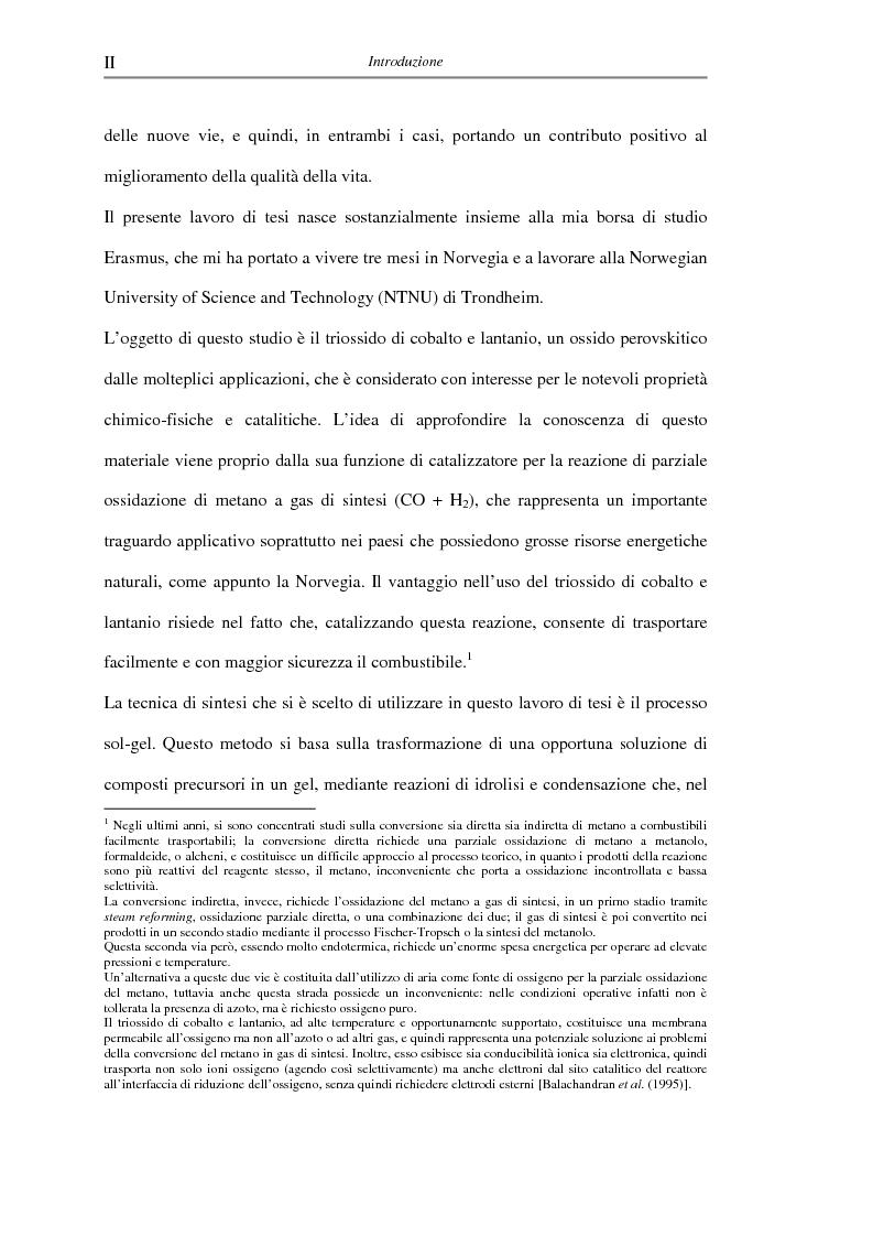 Anteprima della tesi: Sintesi di triossido di cobalto e lantanio mediante processi sol-gel, Pagina 2