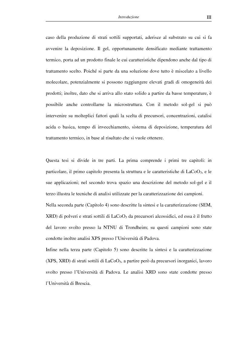 Anteprima della tesi: Sintesi di triossido di cobalto e lantanio mediante processi sol-gel, Pagina 3