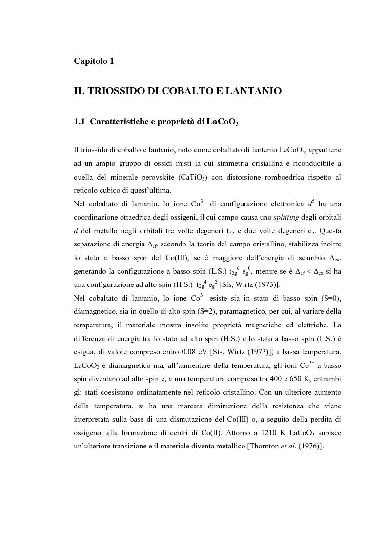 Anteprima della tesi: Sintesi di triossido di cobalto e lantanio mediante processi sol-gel, Pagina 4