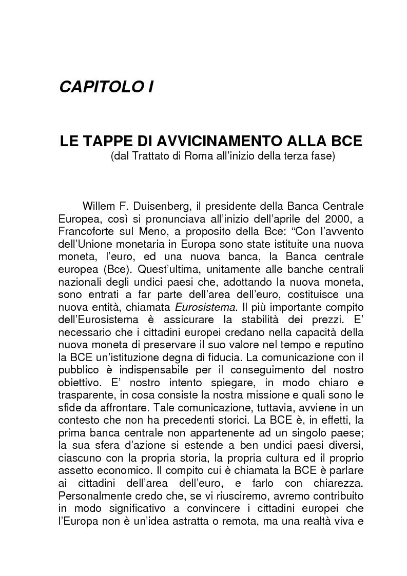 Anteprima della tesi: La BCE (Banca Centrale Europea), Pagina 1