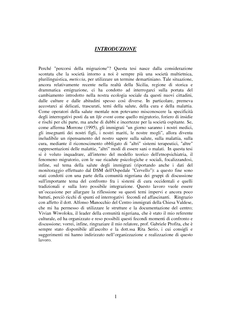 Anteprima della tesi: Percorsi della migrazione. Un'esperienza con la comunità nigeriana di Palermo, Pagina 1