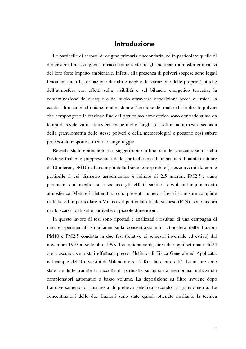 Anteprima della tesi: Indagine sulla frazione fine del particolato atmosferico, Pagina 1