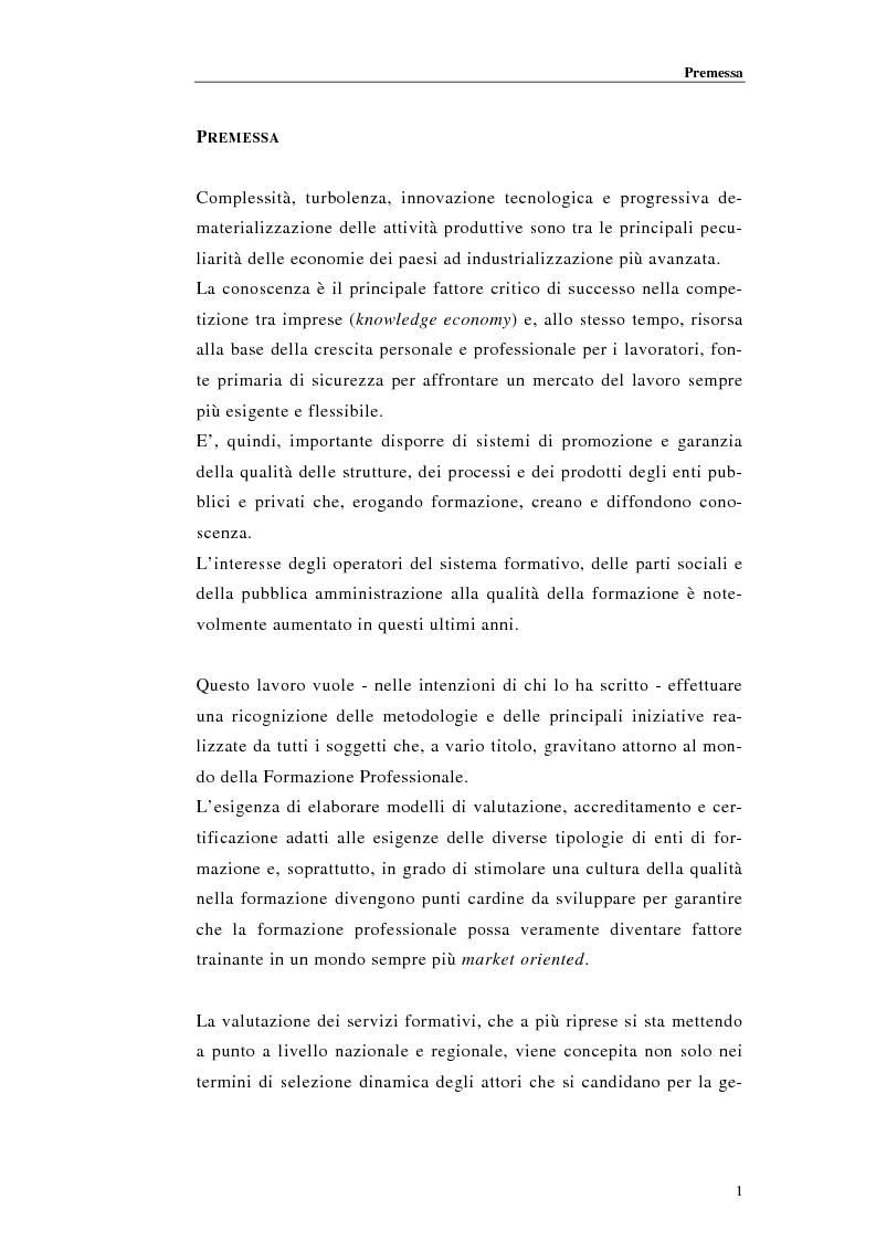 Anteprima della tesi: Procedure di accreditamento e certificazione dei centri di formazione professionale, Pagina 1