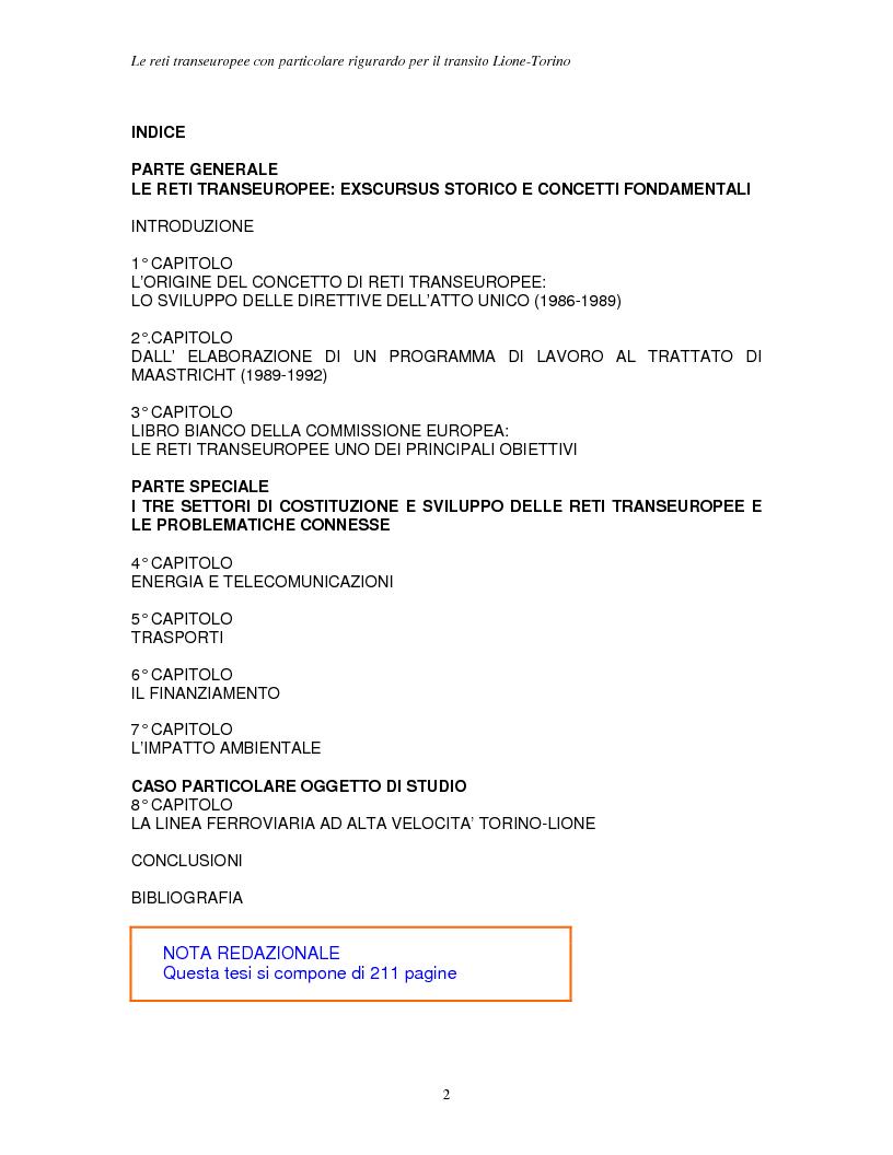 Indice della tesi: Le reti transeuropee, Pagina 1