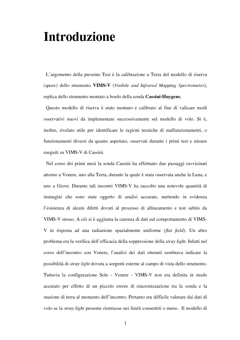 Anteprima della tesi: Calibrazione a terra dello strumento VIMS-V, Pagina 1