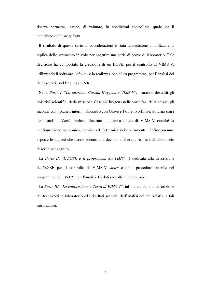 Anteprima della tesi: Calibrazione a terra dello strumento VIMS-V, Pagina 2