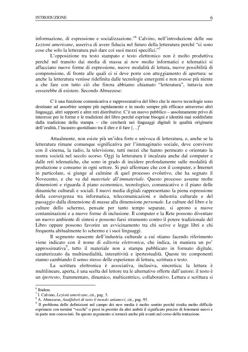 Anteprima della tesi: Nuovi spazi dello scrivere. Analisi delle risorse Internet italiane dedicate alla letteratura, Pagina 2