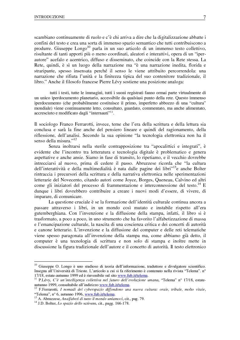 Anteprima della tesi: Nuovi spazi dello scrivere. Analisi delle risorse Internet italiane dedicate alla letteratura, Pagina 3