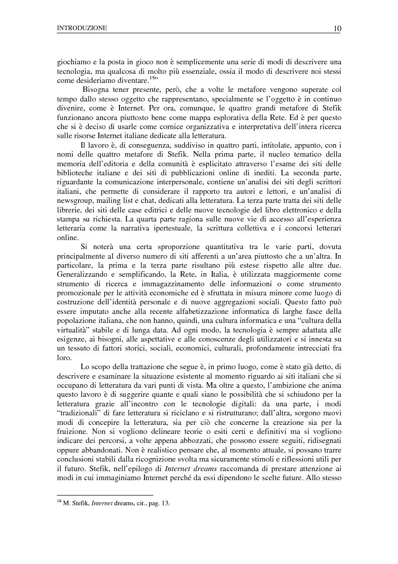 Anteprima della tesi: Nuovi spazi dello scrivere. Analisi delle risorse Internet italiane dedicate alla letteratura, Pagina 6