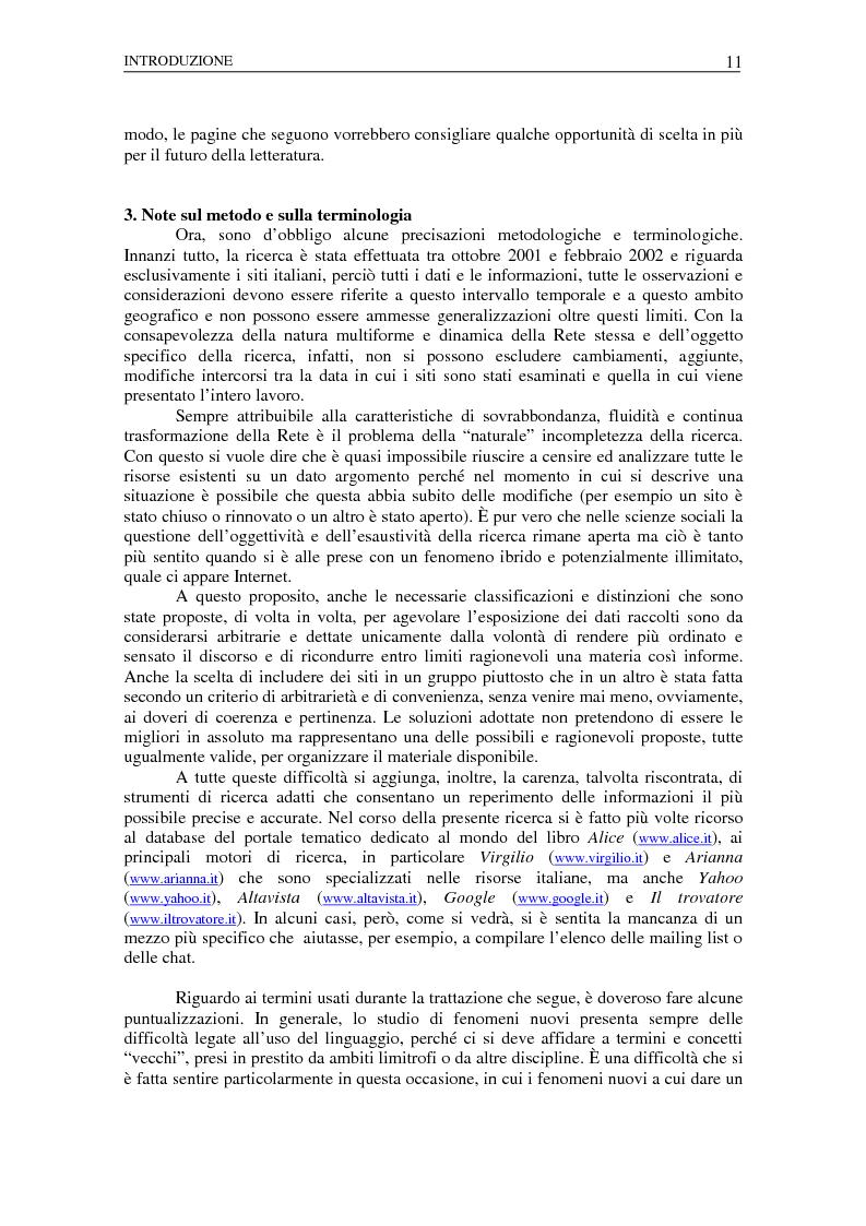 Anteprima della tesi: Nuovi spazi dello scrivere. Analisi delle risorse Internet italiane dedicate alla letteratura, Pagina 7