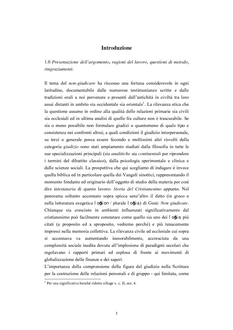 Anteprima della tesi: Il tema del ''non giudicare'' nei Vangeli Sinottici, Pagina 1