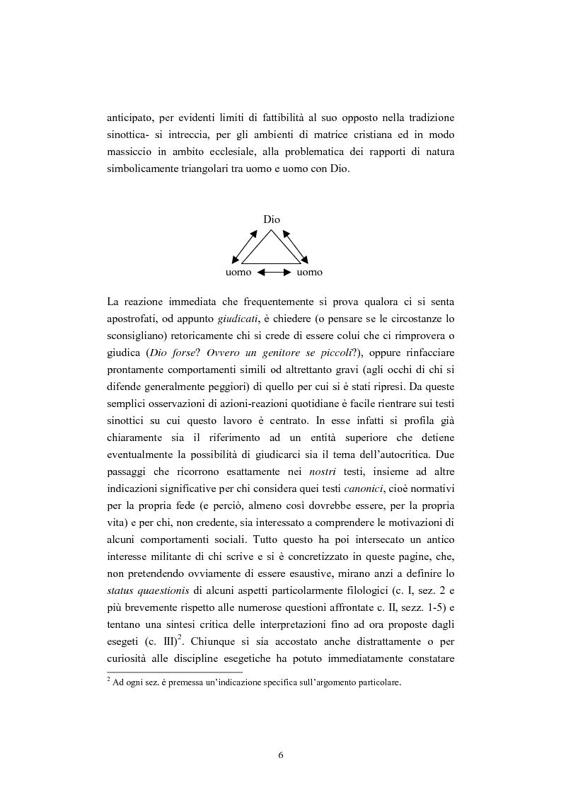 Anteprima della tesi: Il tema del ''non giudicare'' nei Vangeli Sinottici, Pagina 2