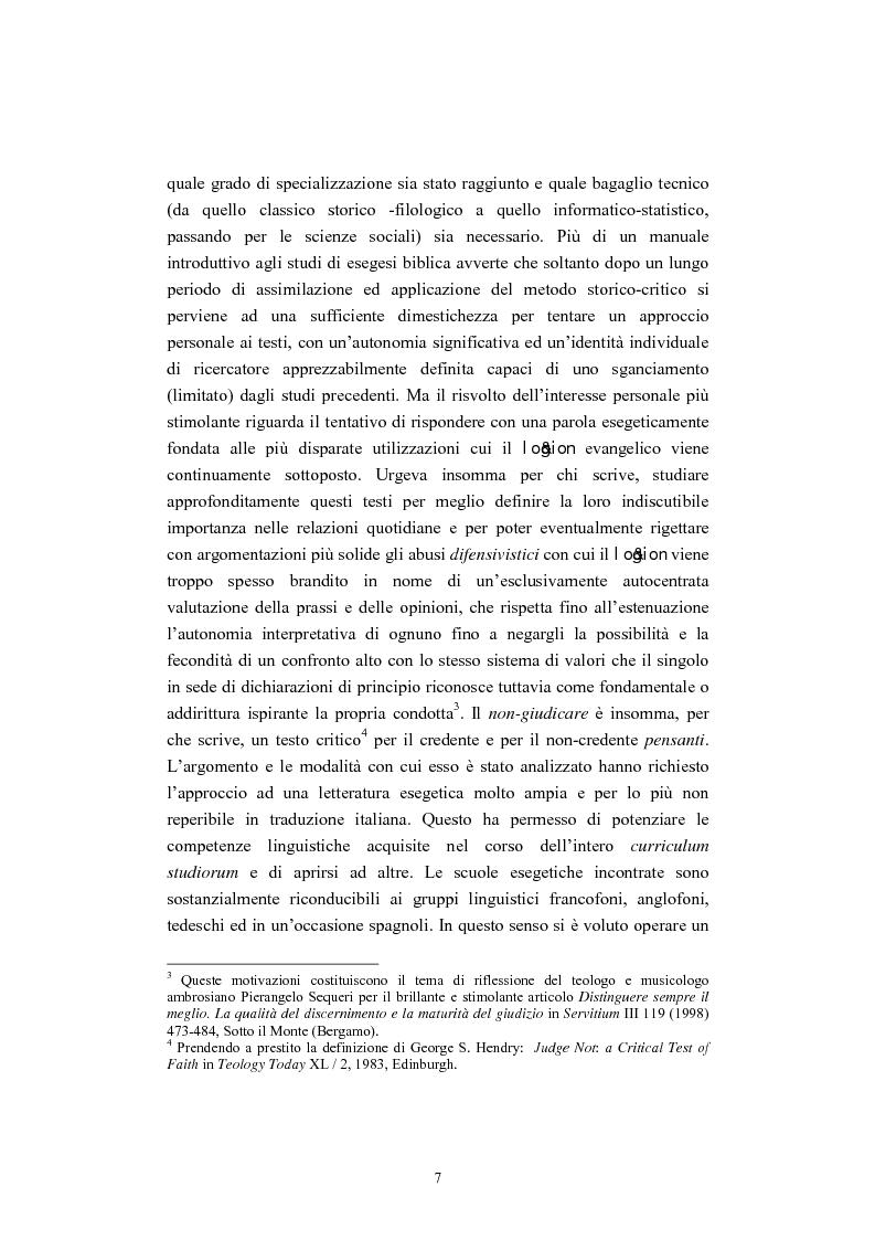 Anteprima della tesi: Il tema del ''non giudicare'' nei Vangeli Sinottici, Pagina 3