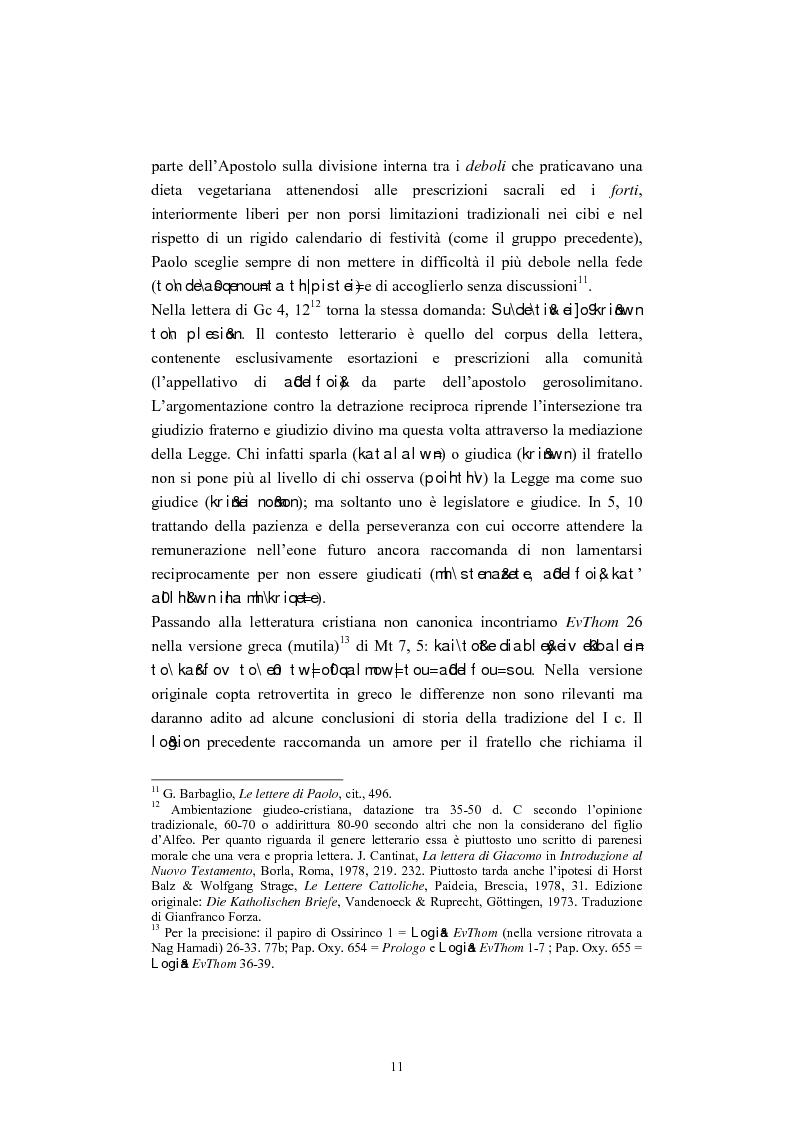 Anteprima della tesi: Il tema del ''non giudicare'' nei Vangeli Sinottici, Pagina 7