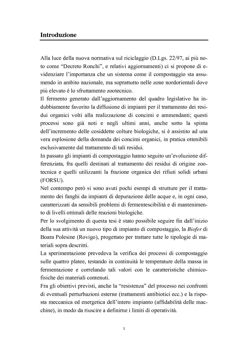 Anteprima della tesi: Problemi di avviamento ad operatività di un impianto di compostaggio, Pagina 1