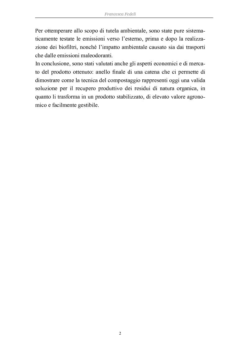 Anteprima della tesi: Problemi di avviamento ad operatività di un impianto di compostaggio, Pagina 2