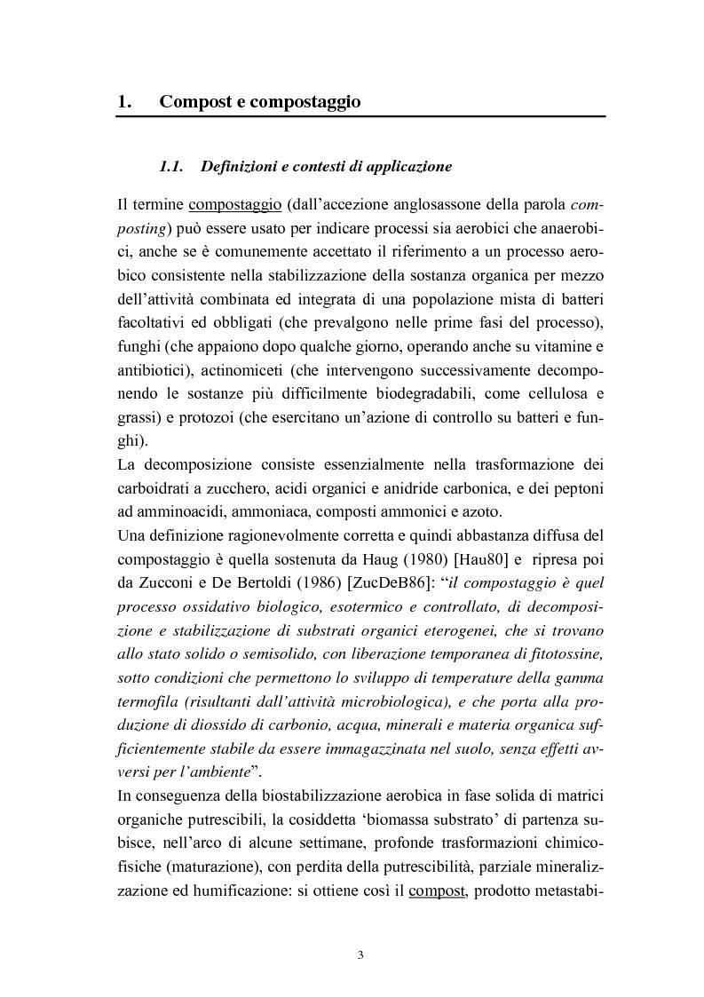 Anteprima della tesi: Problemi di avviamento ad operatività di un impianto di compostaggio, Pagina 3