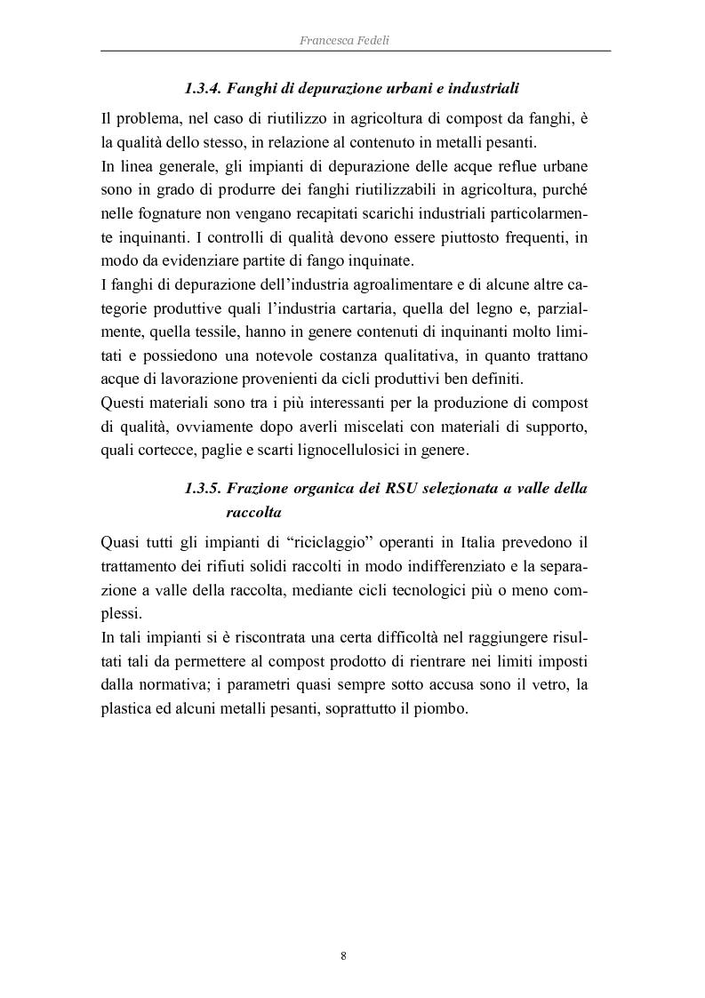 Anteprima della tesi: Problemi di avviamento ad operatività di un impianto di compostaggio, Pagina 8