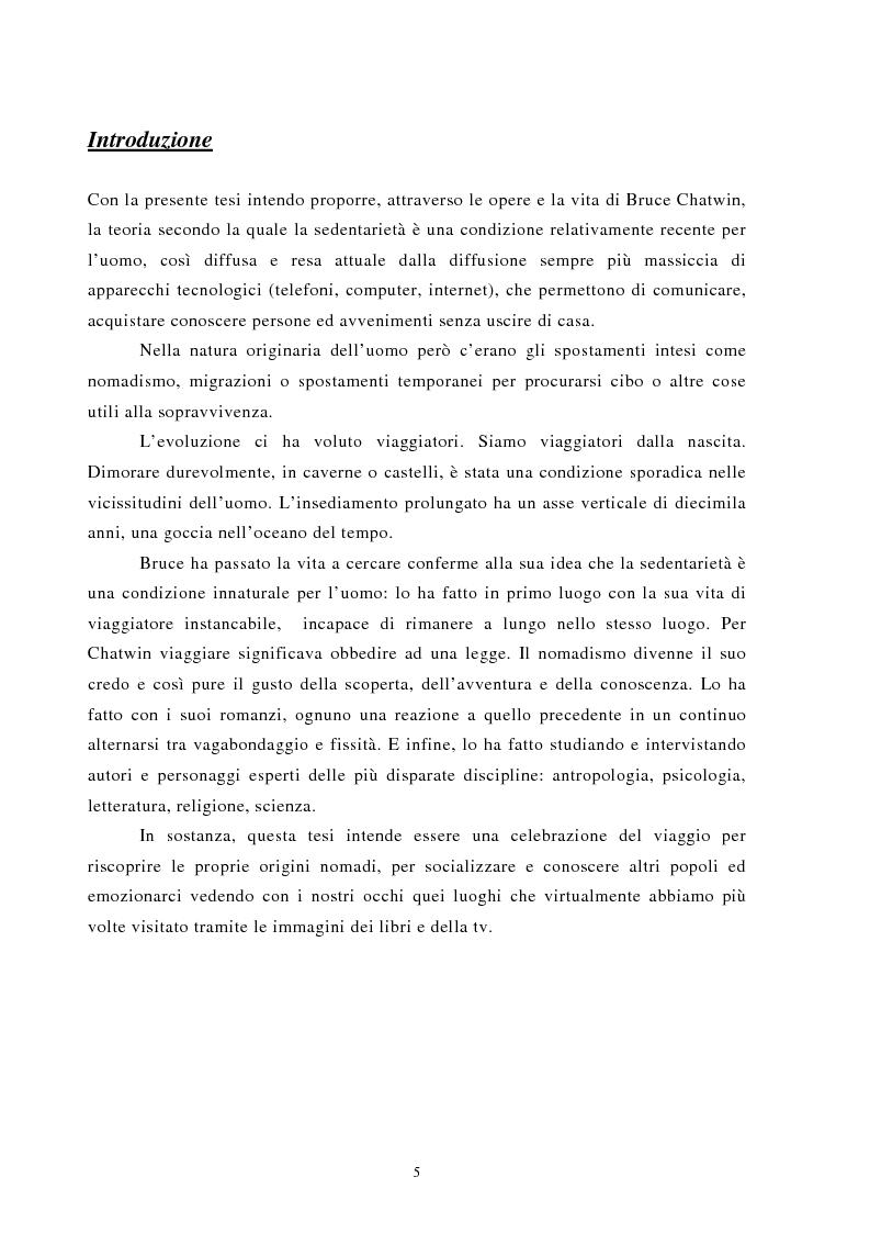 Anteprima della tesi: Nomadismo e sedentarietà nella narrativa di Bruce Chatwin, Pagina 1