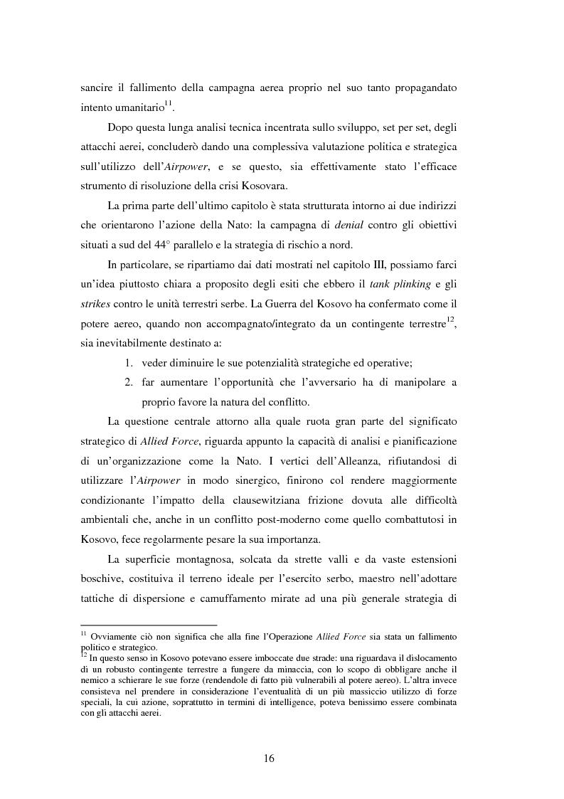 Anteprima della tesi: Il potere aereo nell'età della rivoluzione negli affari militari. Il caso della campagna aerea Nato per il Kosovo., Pagina 11