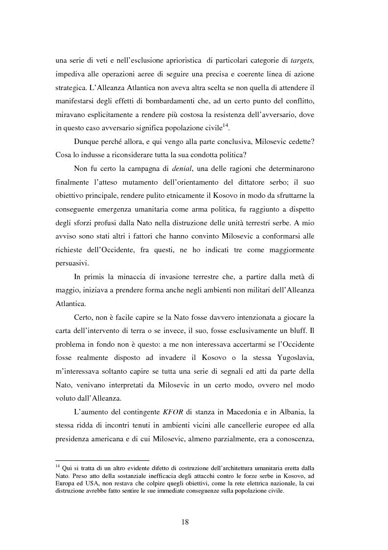 Anteprima della tesi: Il potere aereo nell'età della rivoluzione negli affari militari. Il caso della campagna aerea Nato per il Kosovo., Pagina 13