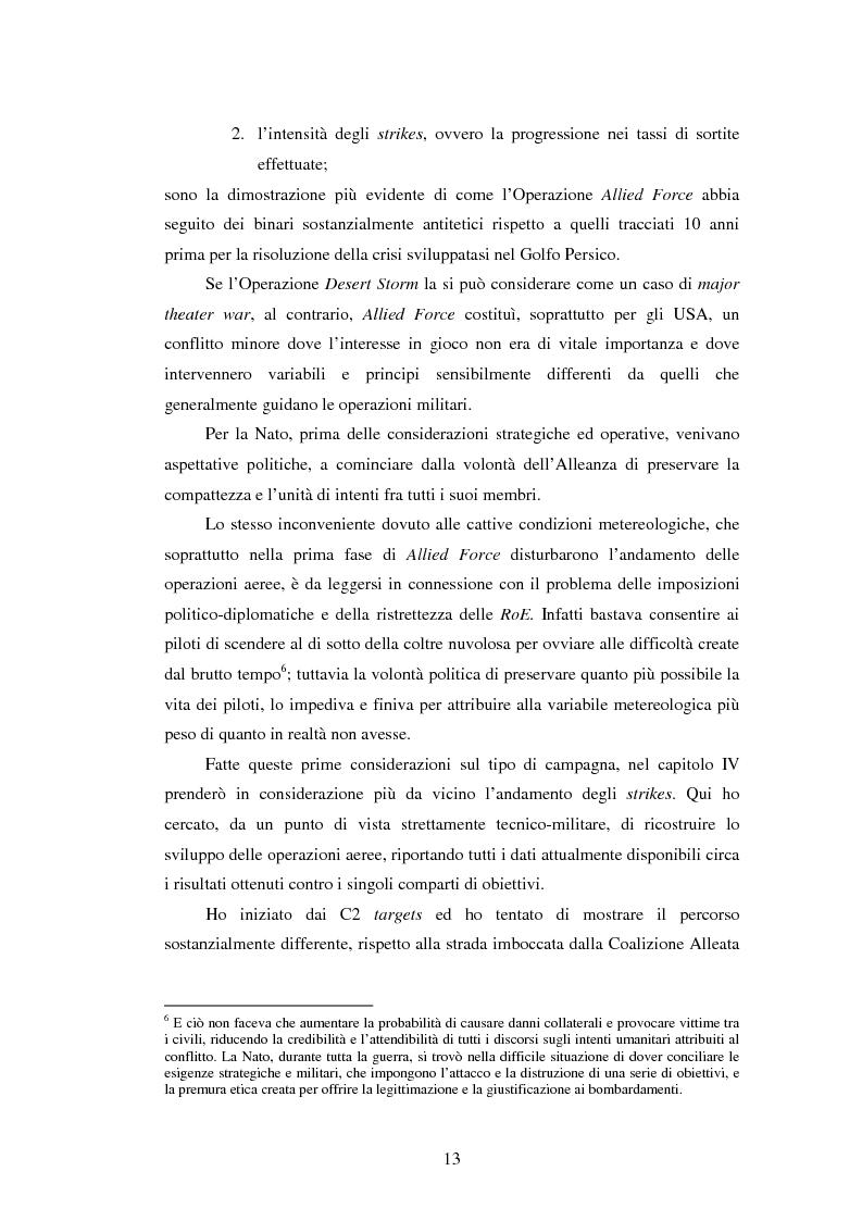 Anteprima della tesi: Il potere aereo nell'età della rivoluzione negli affari militari. Il caso della campagna aerea Nato per il Kosovo., Pagina 8