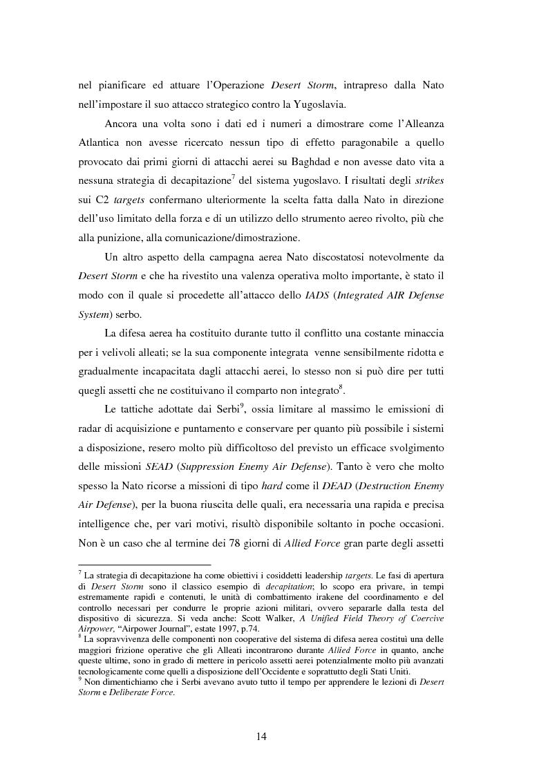 Anteprima della tesi: Il potere aereo nell'età della rivoluzione negli affari militari. Il caso della campagna aerea Nato per il Kosovo., Pagina 9