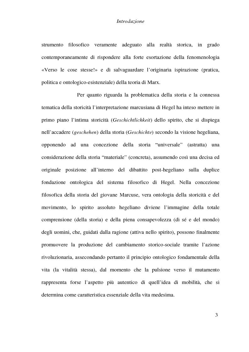 Anteprima della tesi: Ontologia, storicità e vita nell'interpretazione marcusiana di Hegel, Pagina 3