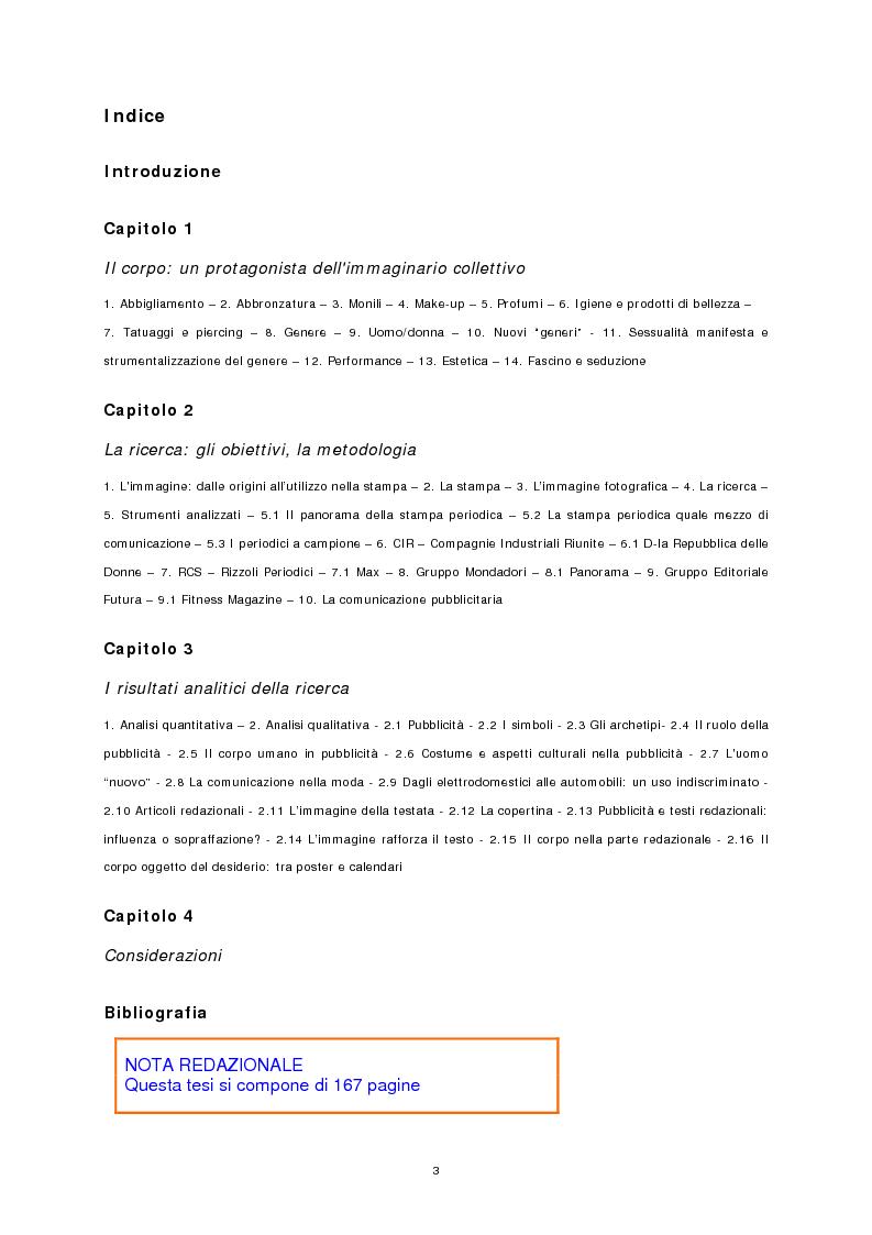 Indice della tesi: Il corpo stampato, Pagina 1