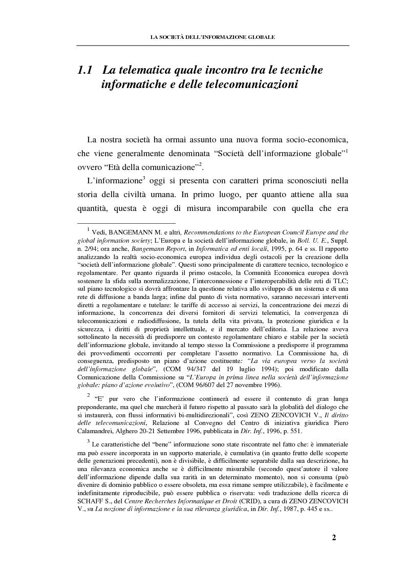 Anteprima della tesi: La responsabilità contrattuale ed aquiliana del fornitore di servizi telematici, Pagina 1