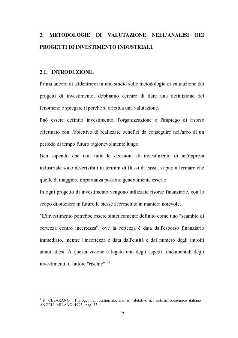 Anteprima della tesi: Valutazione dei progetti di investimento industriali, Pagina 4