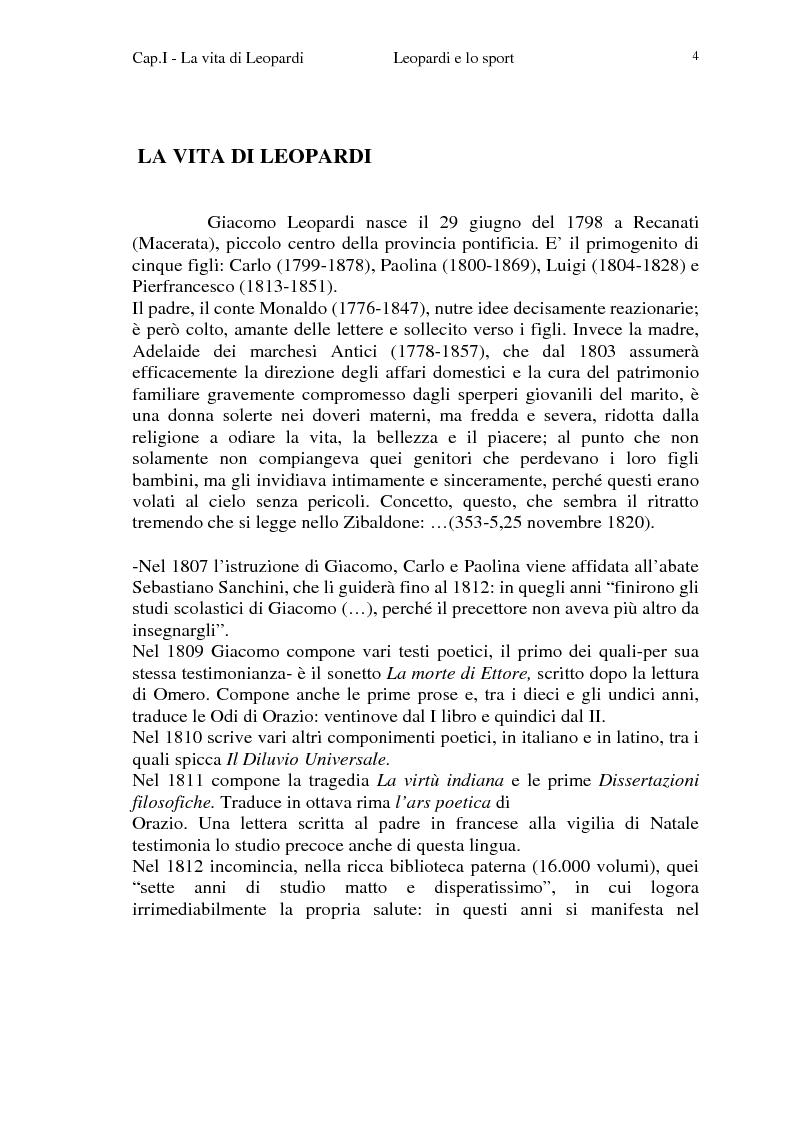 Anteprima della tesi: Leopardi e lo sport, Pagina 1