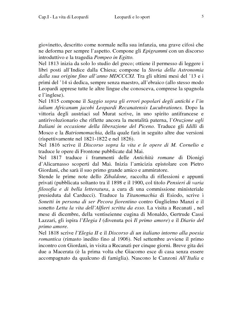 Anteprima della tesi: Leopardi e lo sport, Pagina 2