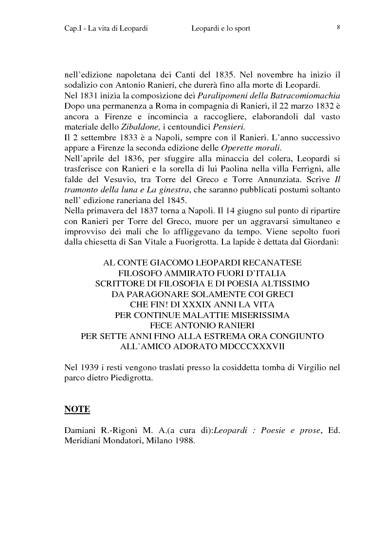 Anteprima della tesi: Leopardi e lo sport, Pagina 5