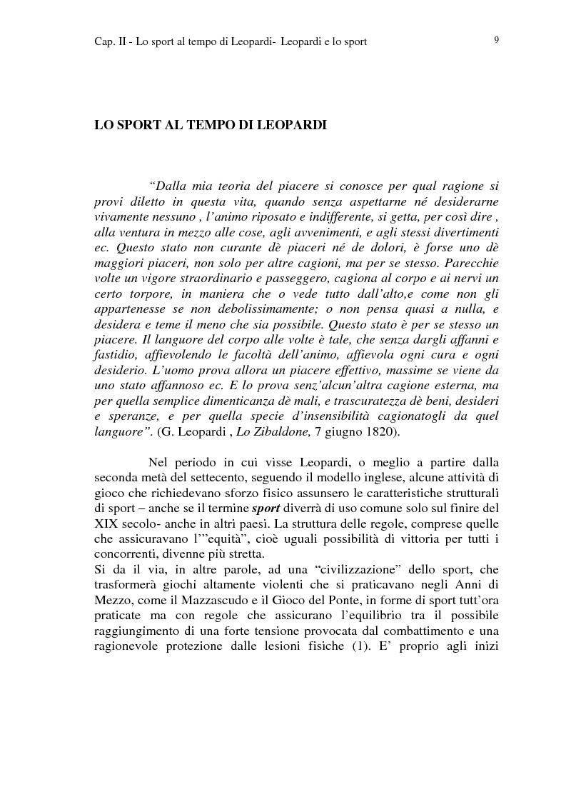 Anteprima della tesi: Leopardi e lo sport, Pagina 6