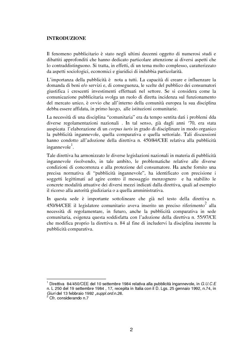 Anteprima della tesi: La pubblicità comparativa fra orientamento dell'autorità garante e legislazione comunitaria, Pagina 1
