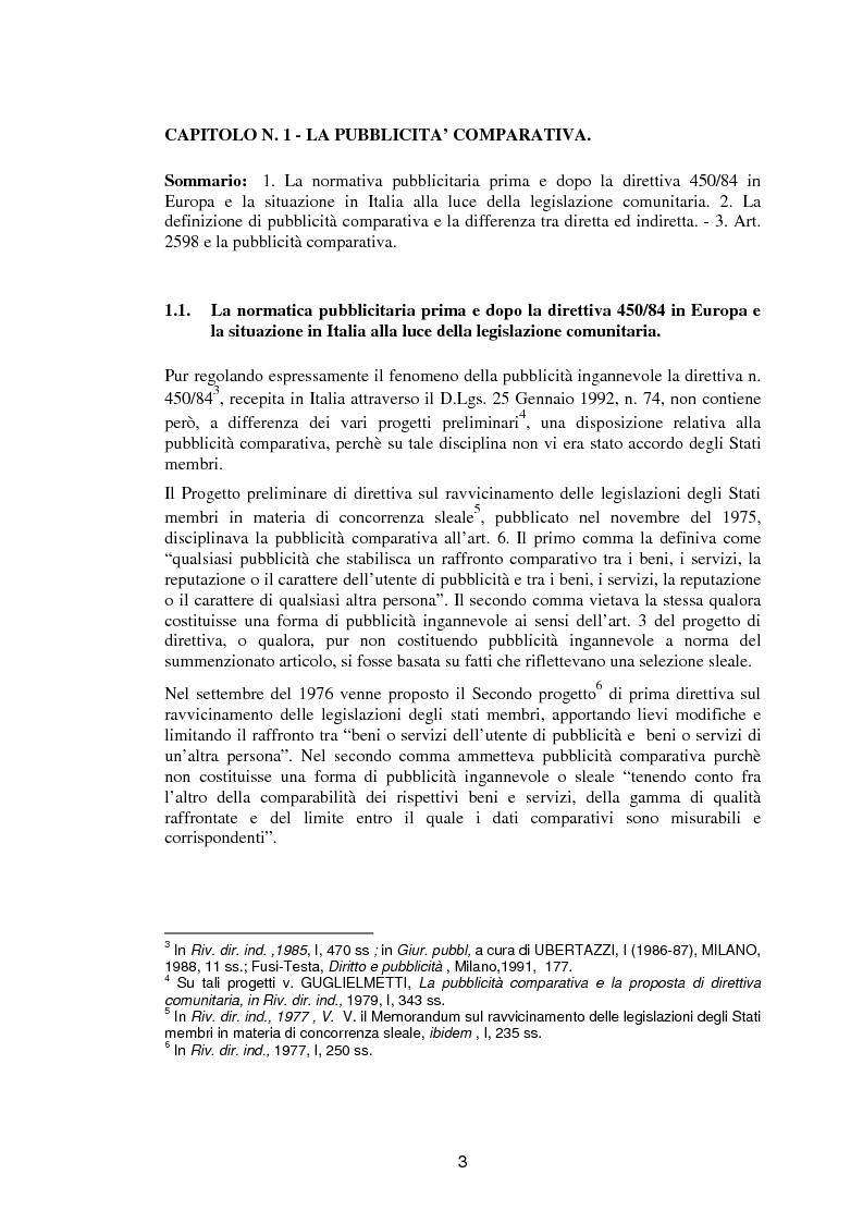 Anteprima della tesi: La pubblicità comparativa fra orientamento dell'autorità garante e legislazione comunitaria, Pagina 2