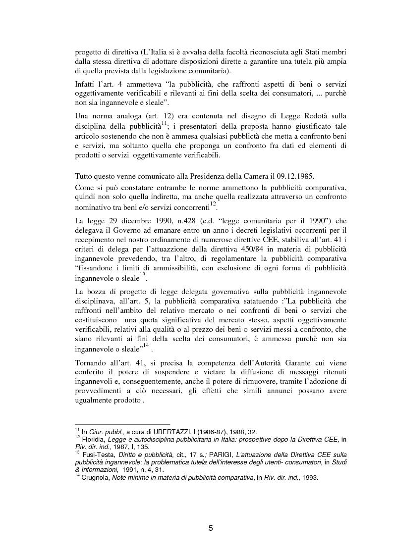 Anteprima della tesi: La pubblicità comparativa fra orientamento dell'autorità garante e legislazione comunitaria, Pagina 4