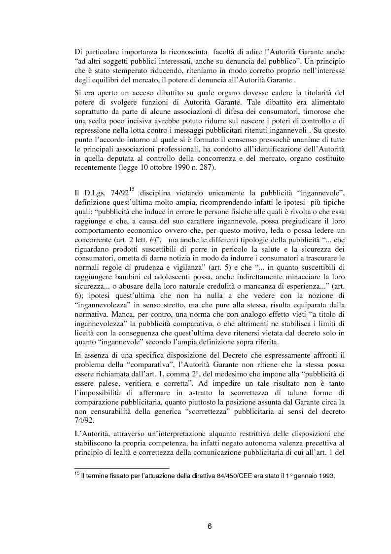 Anteprima della tesi: La pubblicità comparativa fra orientamento dell'autorità garante e legislazione comunitaria, Pagina 5